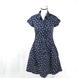 LOGG H&M Floral Denim A Line Button Shirt Dress 6